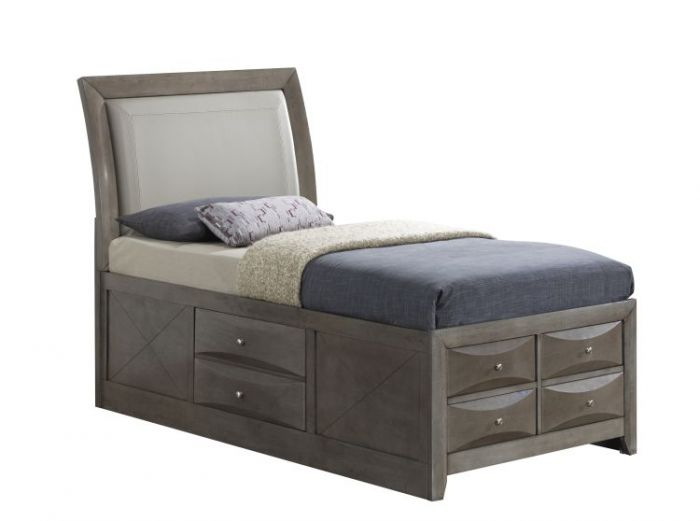 Twin Storage Bed in Gray