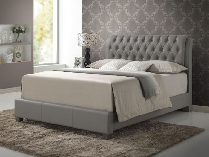 Queen Button-Tufted Bed in Gray