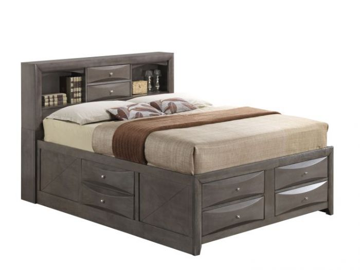 King Storage Bed in Gray