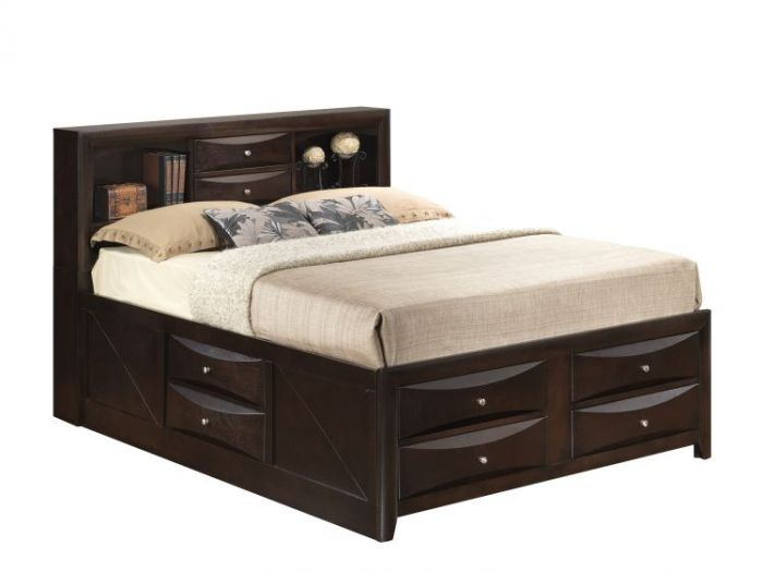 King Storage Bed in Cappuccino