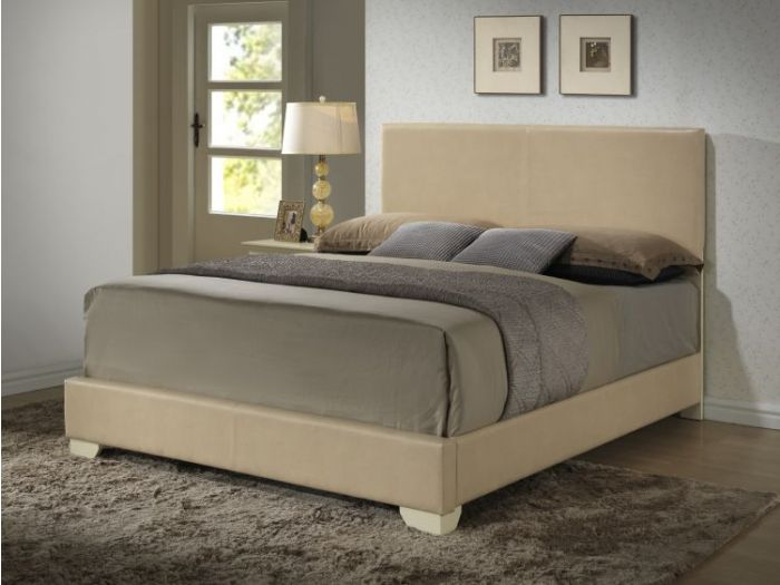Bob's King Faux Leather Bed in Beige