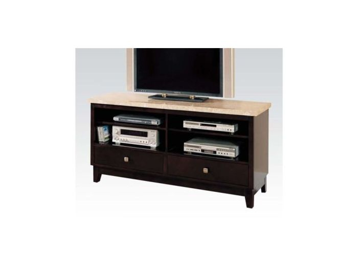 Britney White Oval Marble Top Walnut TV Stand