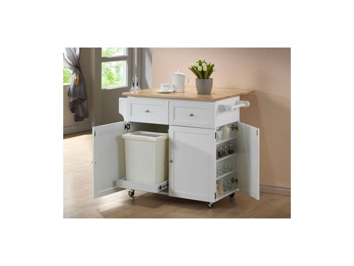 Kitchen Cart with Trash Compartment in White