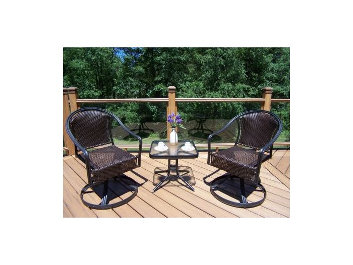 Tuscany 3-Piece Outdoor Swivel Set in Coffee