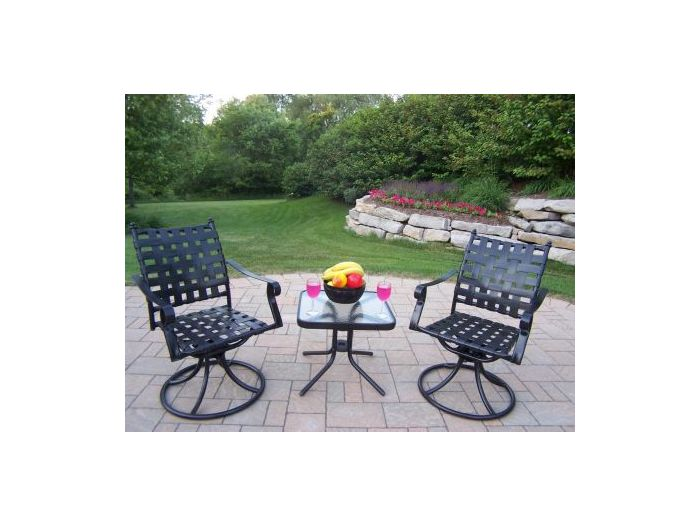 Web 3 Piece Swivel Chat Set with Side Table in Black