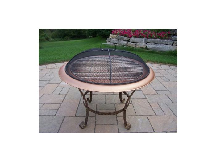 Round Fire Pit with Grill and Spark Guard Screen Lid