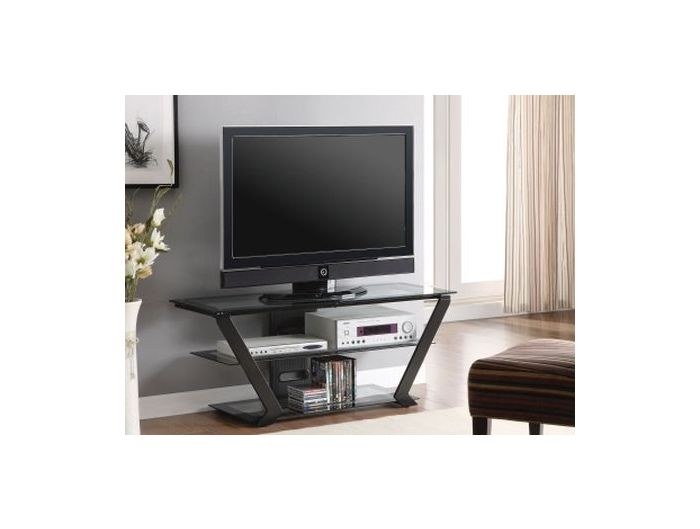 Black Metal and Glass Media TV Console