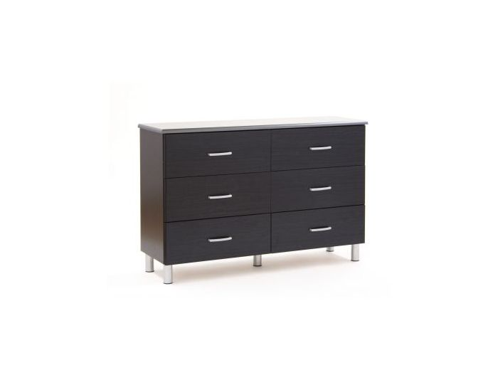 Cosmos 6-Drawer Double Dresser Black Onyx and Charcoal
