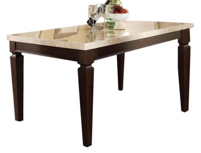 Agatha Table in White Marble and Espresso Finish