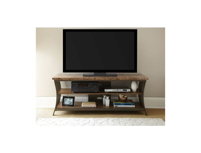 Collision Faux Marble Tv Stand With Metal Legs