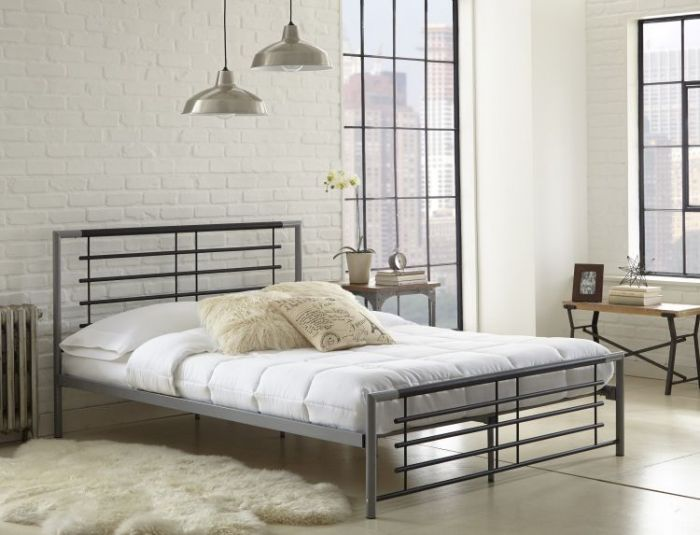Beatrice Twin Size Metal Platform Bed in Black/Silver