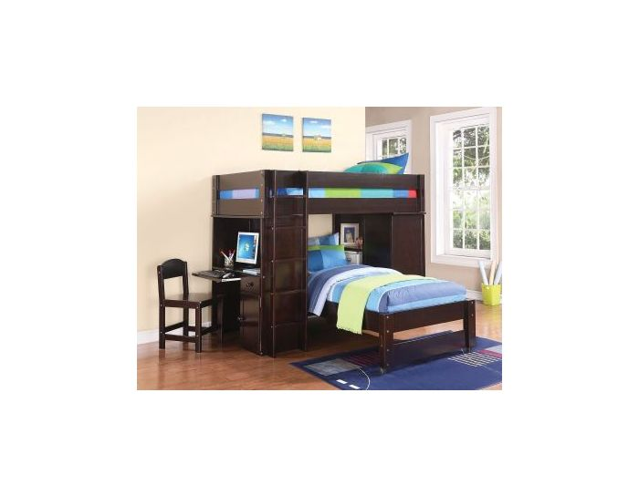 Fabulous Lars Wenge Twin Loft Bed With Twin Bed Desk Chair Pdpeps Interior Chair Design Pdpepsorg