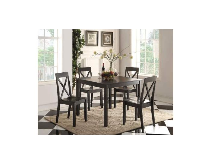 Zlipury 5 Piece Stoneberry Dining Set in Black