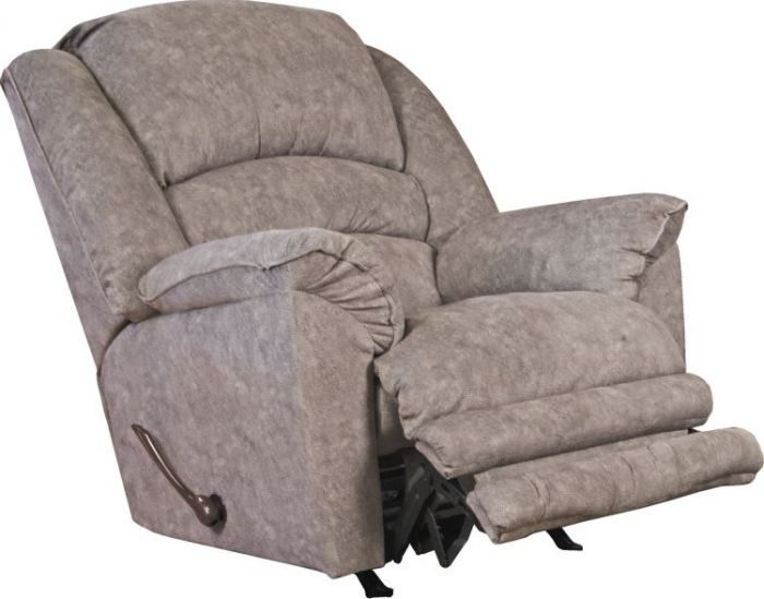 Rialto Chaise Rocker Recliner with Extended Ottoman in Steel