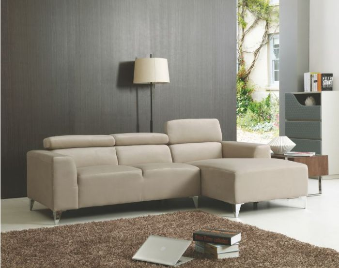 Sofa Sectional in Wheat Velvet Micro Suede
