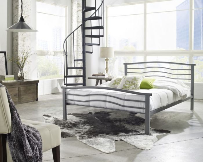 Sonora Metal Platform bed in Silver