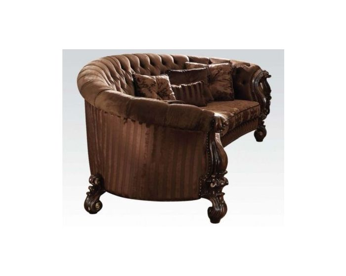 Versailles Sofa with 5 Pillows in Brown & Cherry Oak