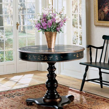 Regal black hand painted foyer table foyer tables for Furniture buy now pay later