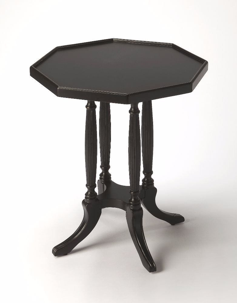 Adolphus Black Licorice Octagonal Accent Table Accents Decors