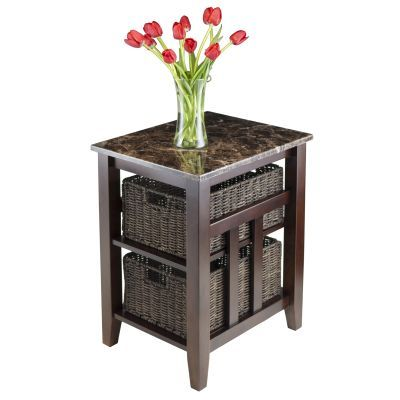 Zoey Side Table Faux Marble Top With 2 Baskets Living Room