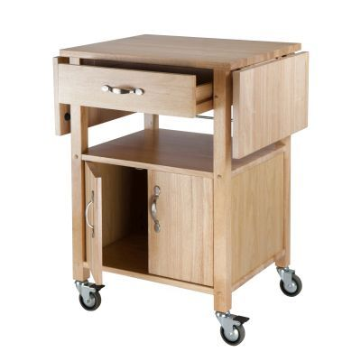 Block Kitchen Cart With Drop Leaf In Natural Finish Kitchen Carts Kitchen Kitchen Dining
