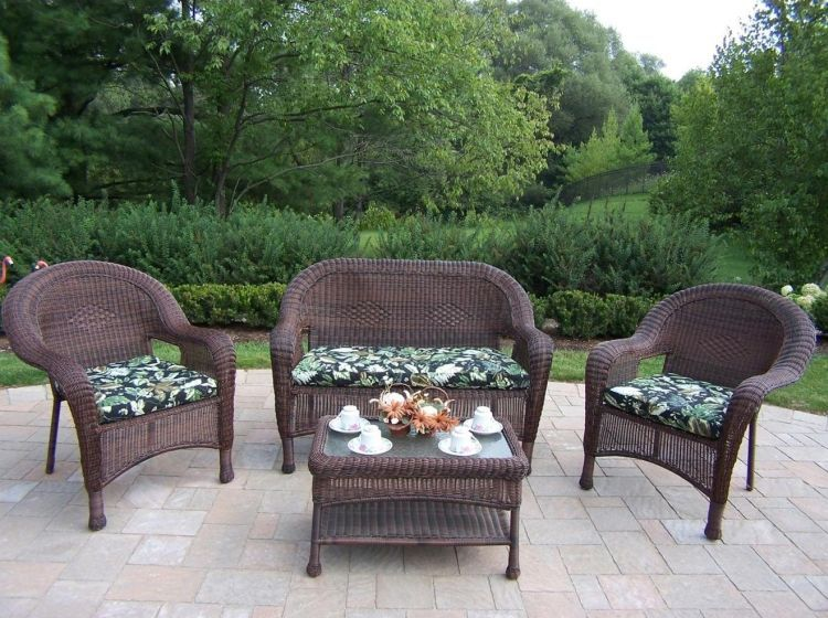 Resin Wicker 4 Piece Outdoor Seating Set With Cushions Progressive Leasing Deals