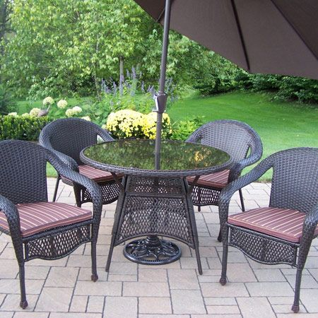 Elite resin wicker 7 piece dining set with umbrella for Outdoor furniture 0 finance
