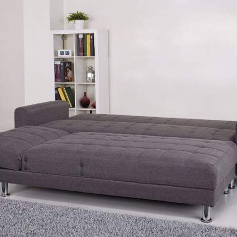 Frankfort Convertible Sectional Sofa Bed In Gray Sectionals