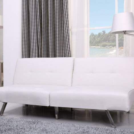 Victorville foldable futon sofa bed in white for Affordable furniture victorville ca