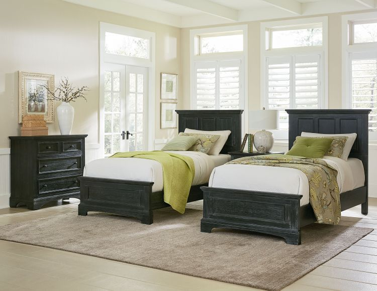 Farmhouse Basics Double Twin Bedroom Set In Rustic Black Kids Beds Kids Youth Furniture Baby Kids