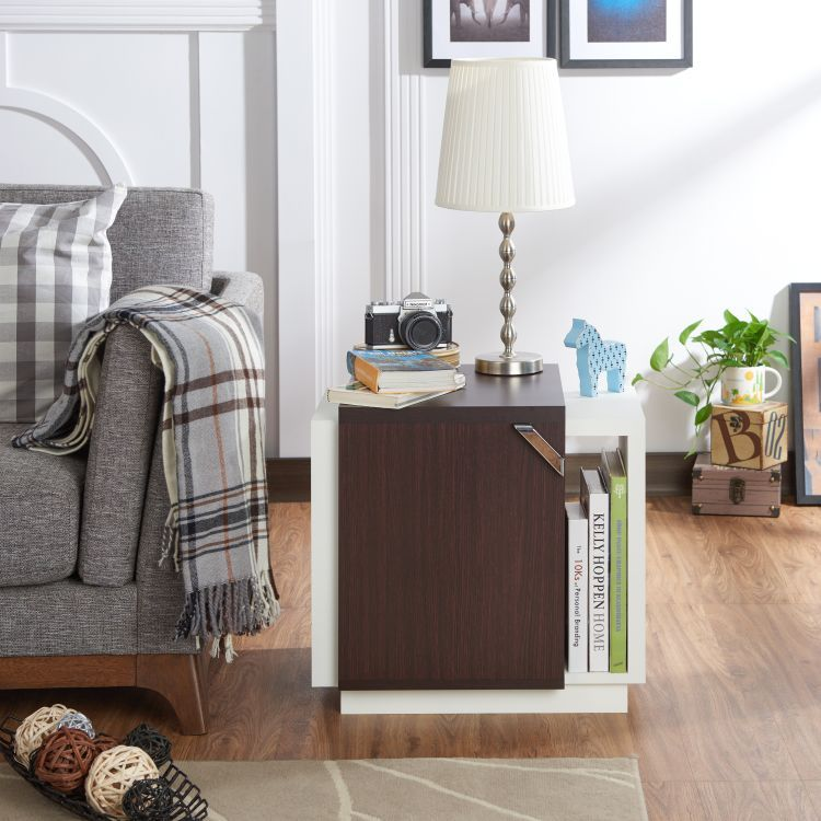 Marvelous ... Samina Color Block Storage End Table In Walnut And White ... Design Ideas