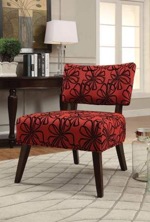 Able accent chair in red fabric espresso for Able furniture