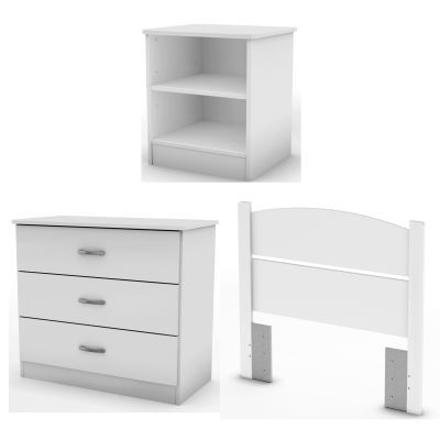 Libra Twin 3 Piece Bedroom In A Box Pure White Kids Beds