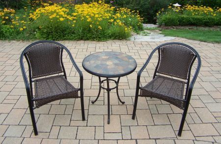 Stone art tuscany 3 piece bistro set patio bistro sets garden furniture outdoor furniture - Bistro sets for small spaces collection ...