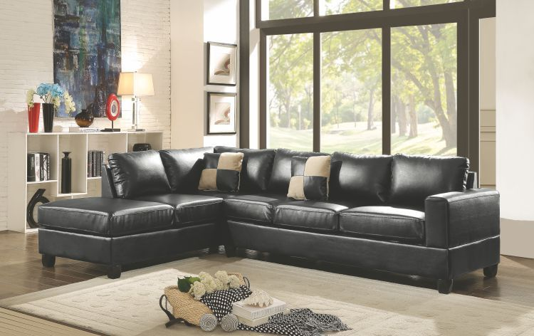Sectional In Black Pu