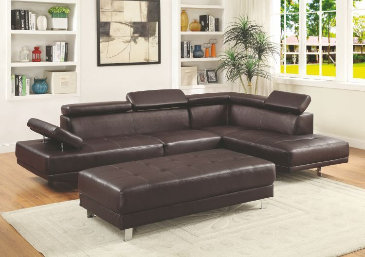 Milan Sectional In Pubrown Sectionals Living Room Seating Living Room
