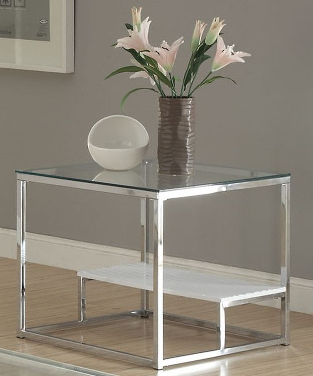 Ruben end table in chrome clear glass for But table ruben