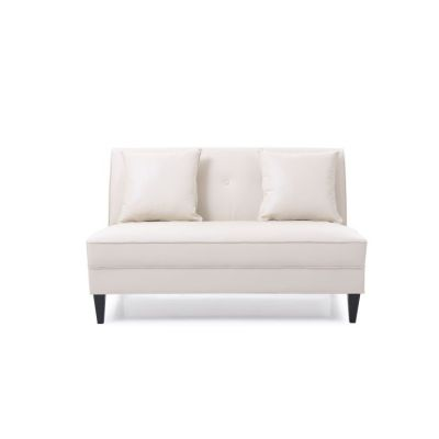 Faux Leather Settee in Pearl - G056-S