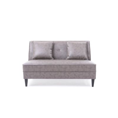 Faux Leather Settee in Gray - G057-S