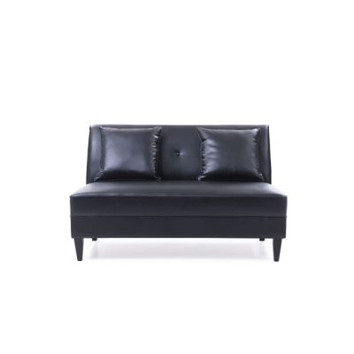 Faux Leather Settee in Black - G058-S