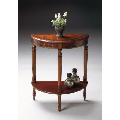 Bellini Cherry & Red Hand Painted Demilune Console Table - 889176