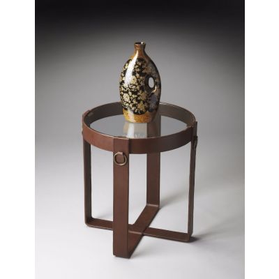Brown Leather Lamp Table - 1158260
