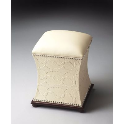 Embossed Cream Leather and Nail-Head Ottoman - 1193260