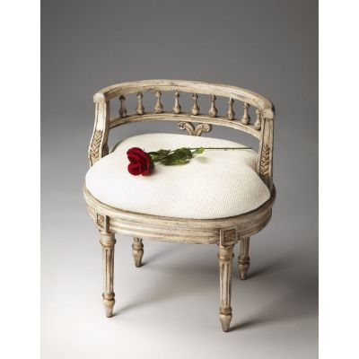 Hathaway Gilted Cream Vanity Seat - 1218238