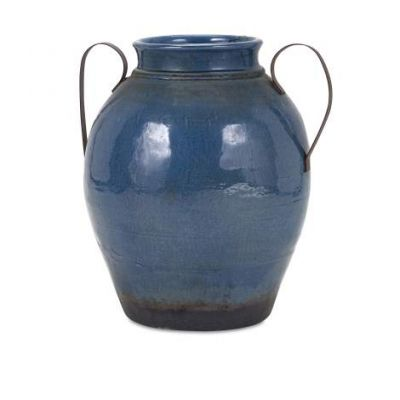 Harrisburg Large Vase With Metal Handles - 13610