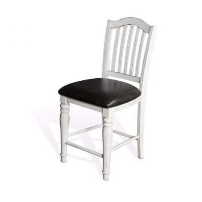 Slatback Stool with Cushion Seat, 24