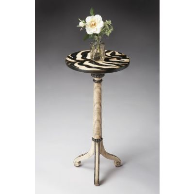 Florence Zebra Stripe Painted Pedestal Table - 1583191