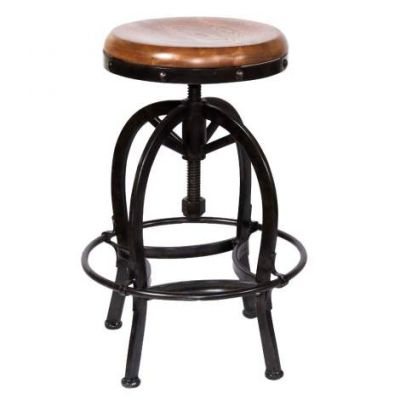 Adjustable Metal Stool with Wooden Seat - 1725RO