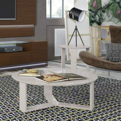 Madison 2-Piece Accent Table Living Room Set in Off White - VEN039-2-8505385153