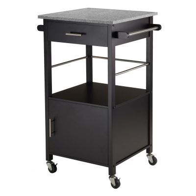 Davenport Kitchen Cart with Granite Top Black - 20023